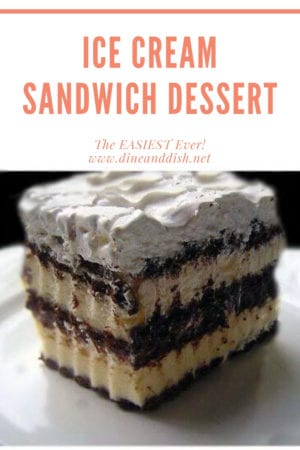 Graphic with an ice cream sandwich layer dessert topped with whipped cream on a white plate.