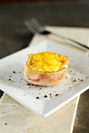 baked eggs wrapped in bacon
