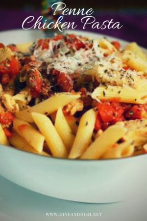 A Penne Pasta and Chicken recipe that feels like home. An easy weeknight meal! Recipe from dineanddish.net