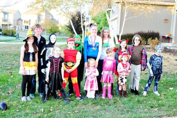 A group of kids dressed up for Halloween