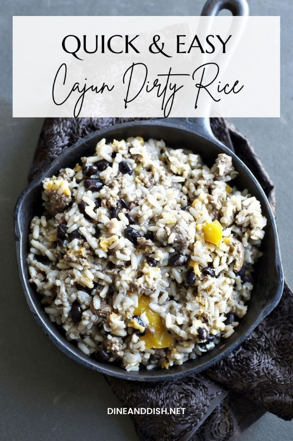 Image is a Cast Iron Skillet with Cajun Dirty Rice