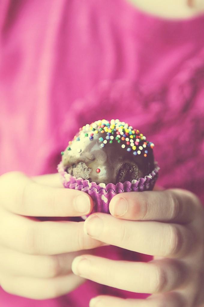 Thin Mint Cake Balls in Hand