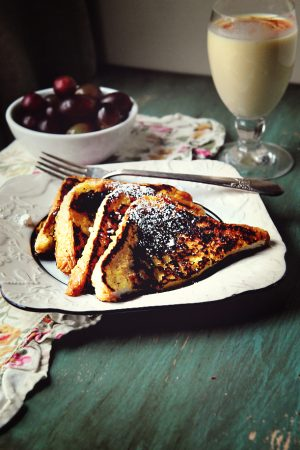 plate of eggnog french toast