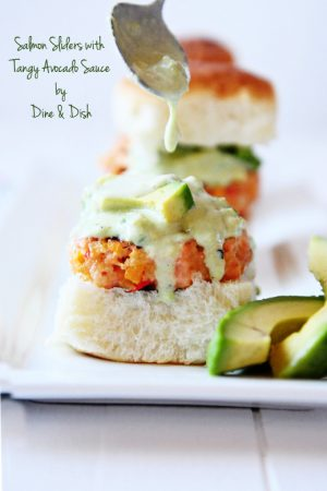 Salmon Sliders with California Avocado Sauce