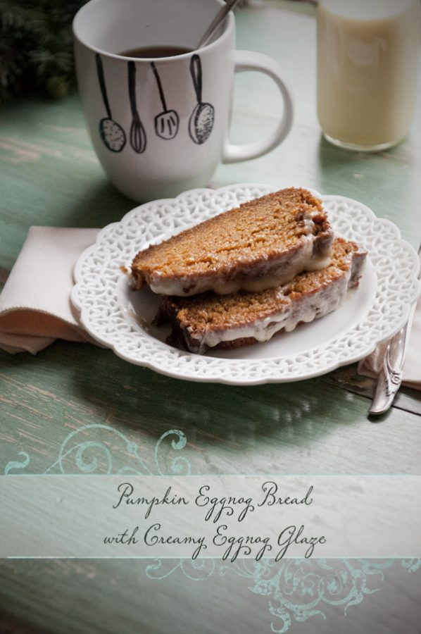 Pumpkin Eggnog Bread Recipe with Creamy Eggnog Glaze