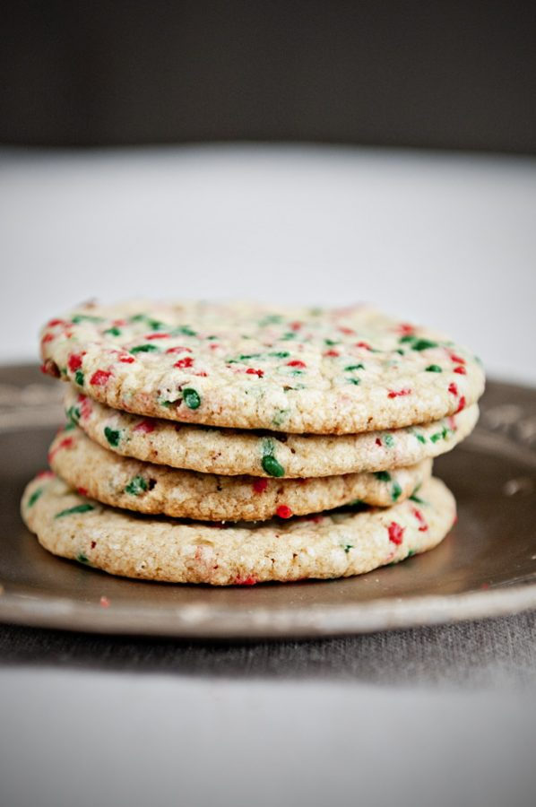Stack of Christmas Confetti Cookies on a plate