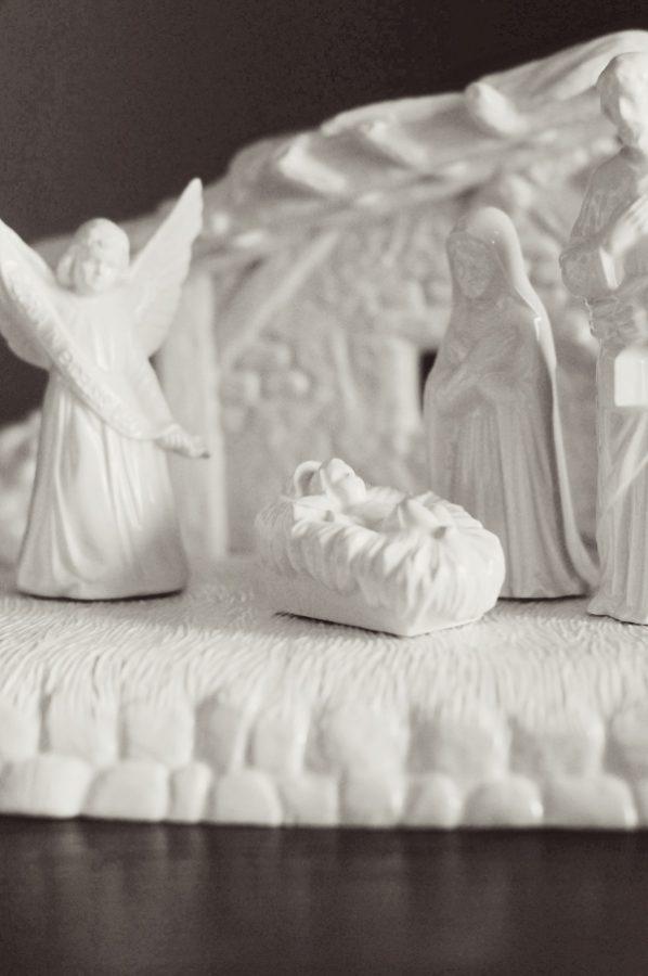 White Nativity Scene