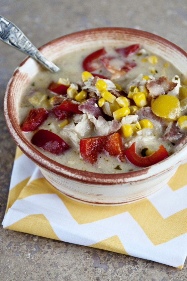 A bowl of creamy chicken and corn chowder from Dine & Dish