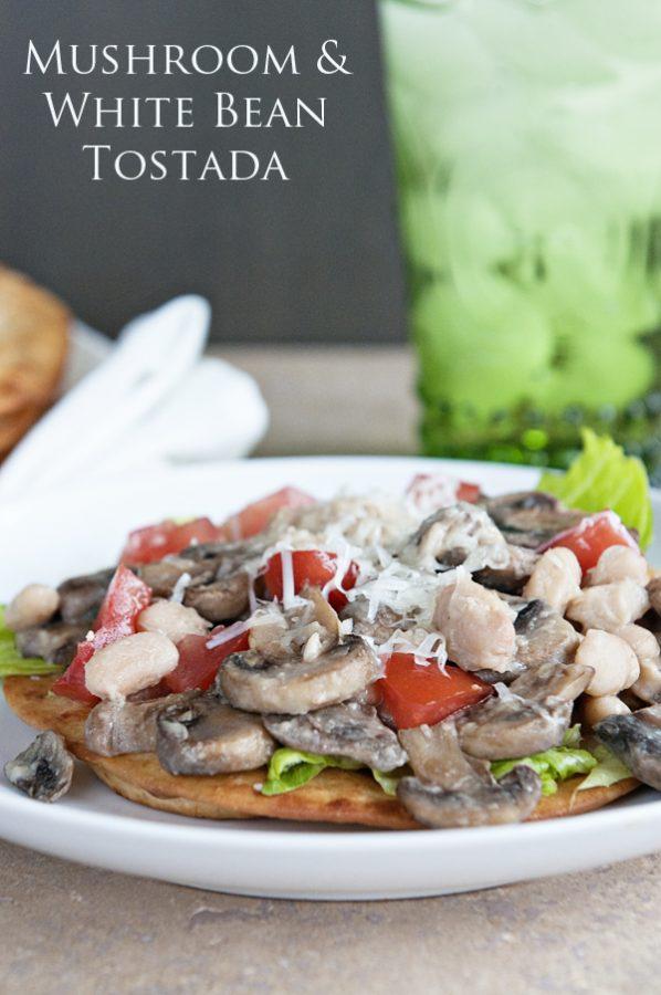 Mushroom White Bean Tostada from www.dineanddish.net