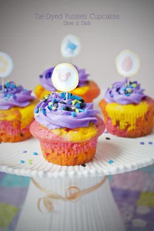 Tie Dyed Funfetti Cupcakes