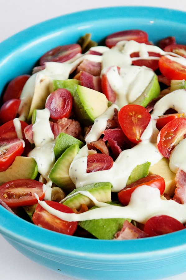 Bacon Avocado Tomato Pasta Salad