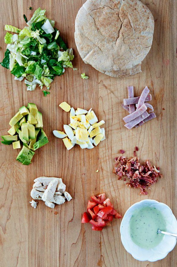 Ingredients for cobb salad stuffed pitas