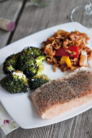 Bumblebee Salmon Orzo and Roasted Broccoli