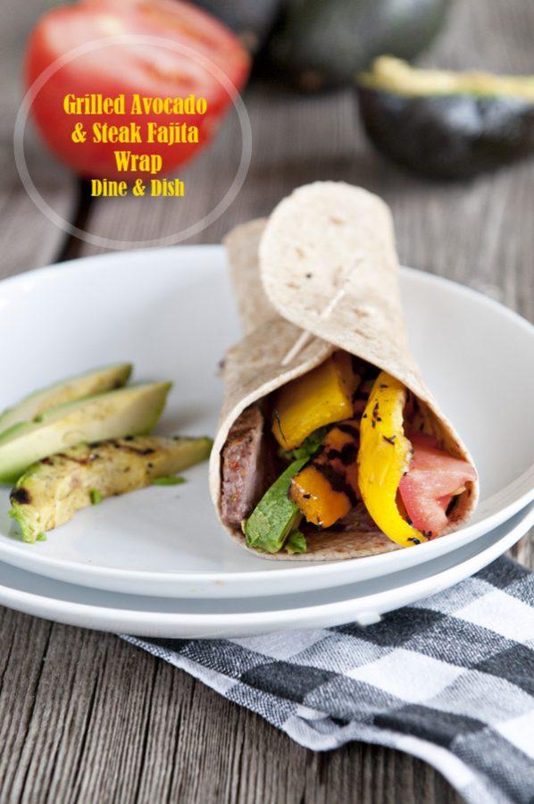 Grilled Avocado Steak Fajita Wrap www.dineanddish.net