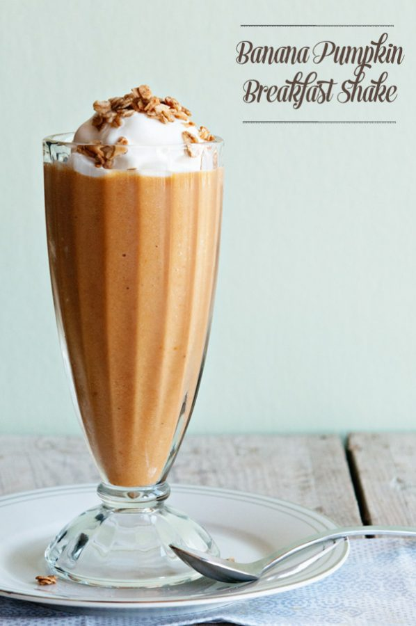 Banana Pumpkin Breakfast Shake - a great back to school breakfast idea from Dine & Dish