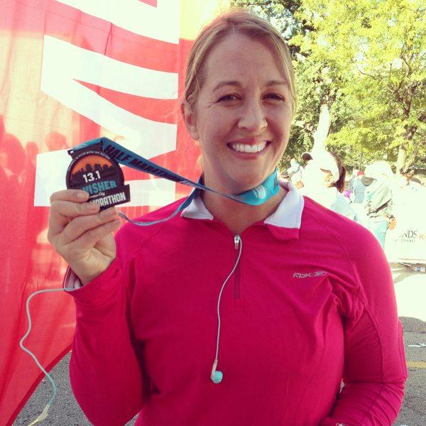 My 13.1 half marathon medal from running the Kansas City Half Marathon 2013