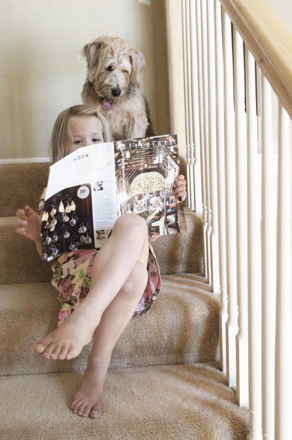 Leah Reading Pottery Barn Catalog with Meg