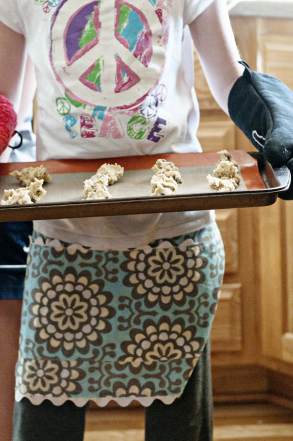 Kelly making cookies