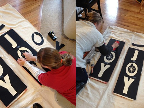 Painting the Pottery Barn Inspired Rustic Holiday Sign