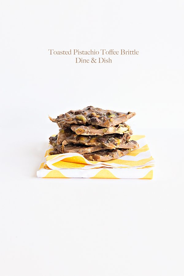 Toasted Pistachio Toffee Brittle from dineanddish.net