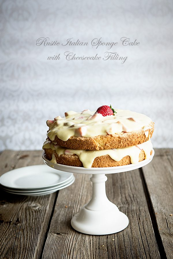 Rustic Italian Sponge Cake with Creamy Cheesecake Filling