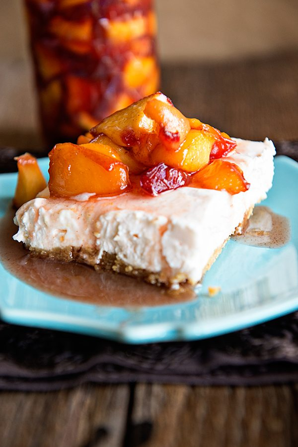 Peaches and Cream No Bake Cheesecake from dineanddish.net