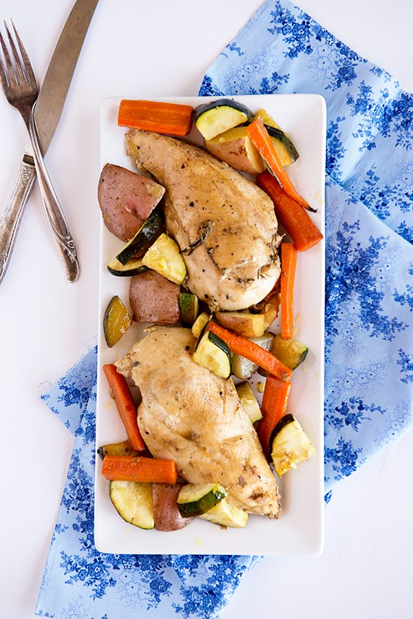 Garden Vegetable Roasted Chicken Recipe from dineanddish.net