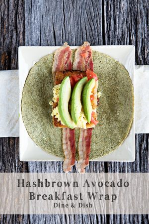 Hash Brown Avocado Breakfast Wrap from dineanddish.net