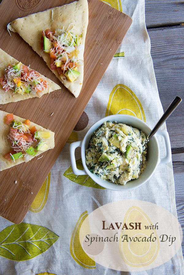 Homemade Lavash with Hot Spinach Avocado Dip from dineanddish.net