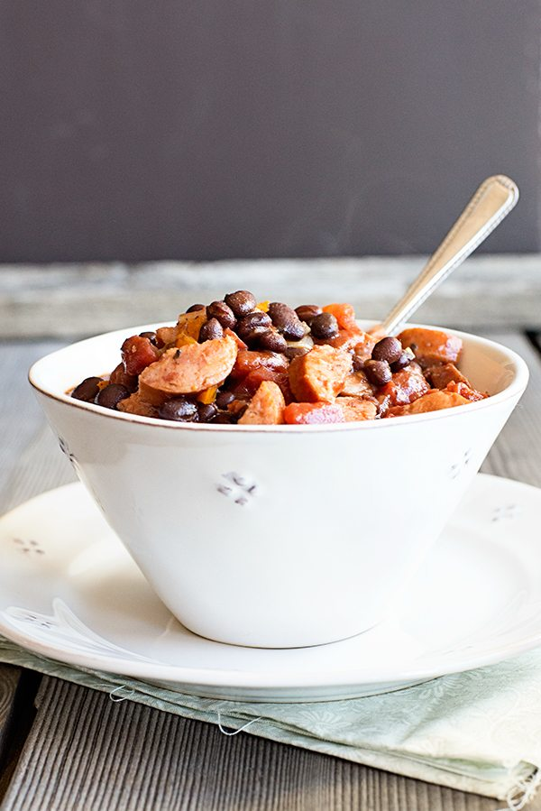 Simple Smoked Sausage Chili Recipe made with Bush's new Chili Beans