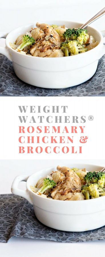Here's a healthy low-point Weight Watchers Smart Points recipe! Rosemary Chicken and Broccoli is a new Freestyle favorite for me! Get the recipe on dineanddish.net.