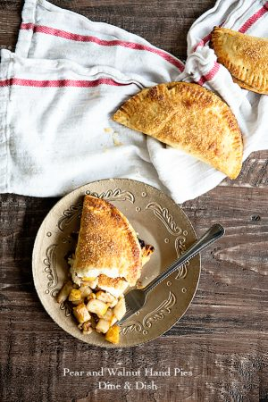 Pear and walnut hand pies - individual pies with a tender and flaky crust from dineanddish.net