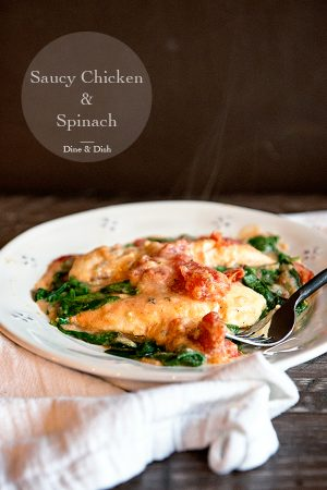 Saucy Chicken and Spinach Recipe from dineanddish.net