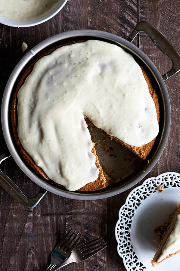 Spiced Eggnog Snack Cake from dineanddish.net