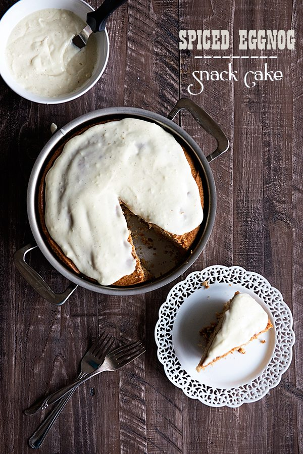 Snack Cake with Eggnog Frosting is a festive, flavorful treat! From dineanddish.net