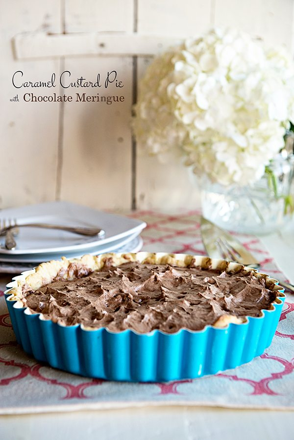 Caramel Custard Pie with Chocolate Meringue from dineanddish.net