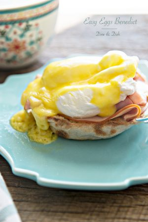 Easy Eggs Benedict with Hollandaise Sauce recipe from dineanddish.net