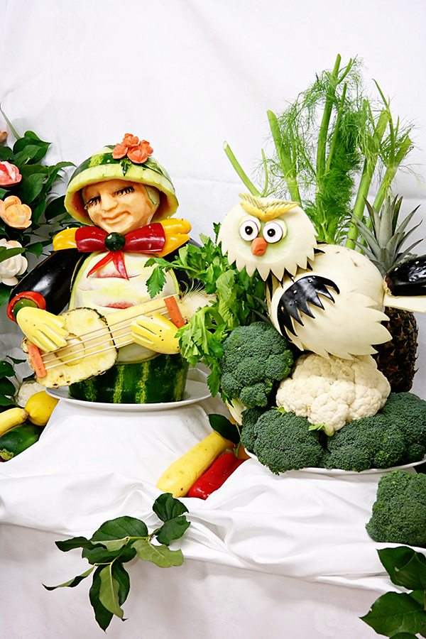 Fruit and Vegetable Carvings / Sculptures on the Regal Princess Chef's Table Lumiere
