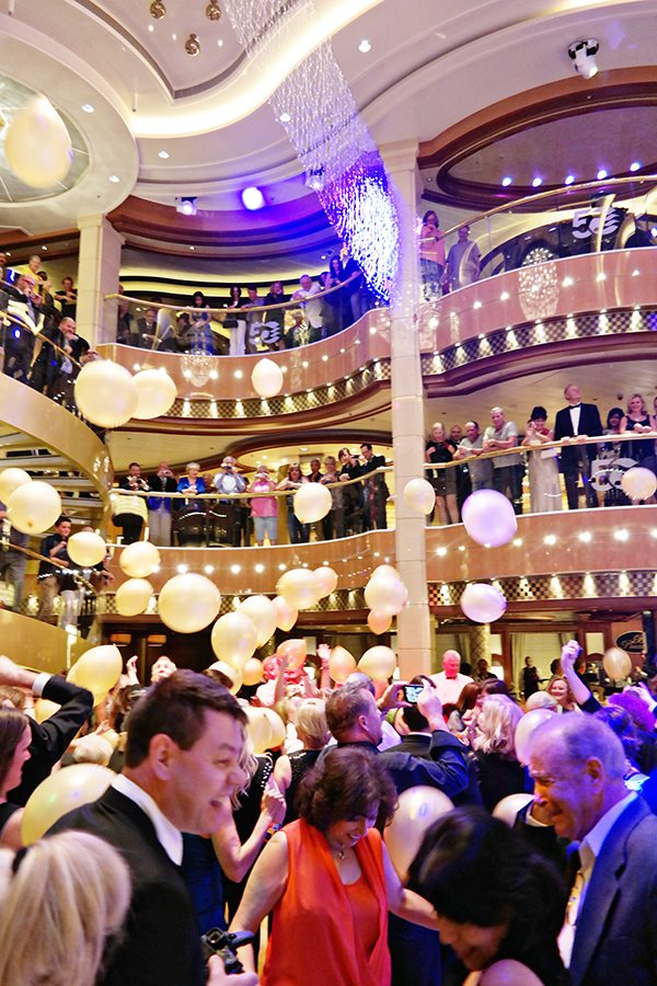 anniversary celebration ball drop on the regal princess cruise ship