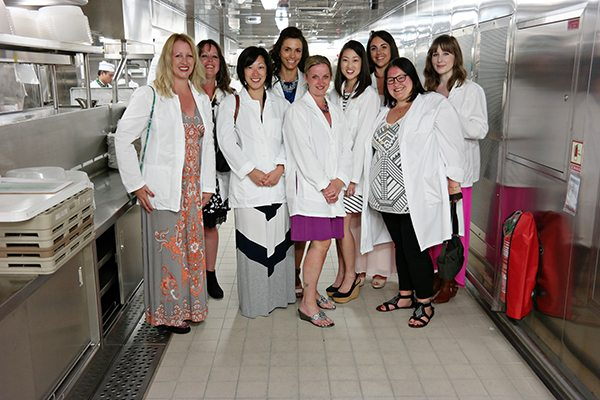 Bloggers group photo in the kitchen of the Regal Princess
