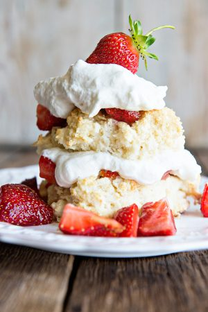 Homemade Strawberry Shortcake with Grand Mariner Whipped Cream on dineanddish.net