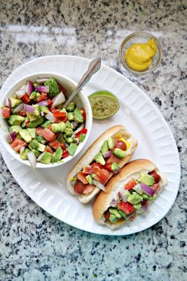 Grilled Hot Dogs with California Avocado Relish