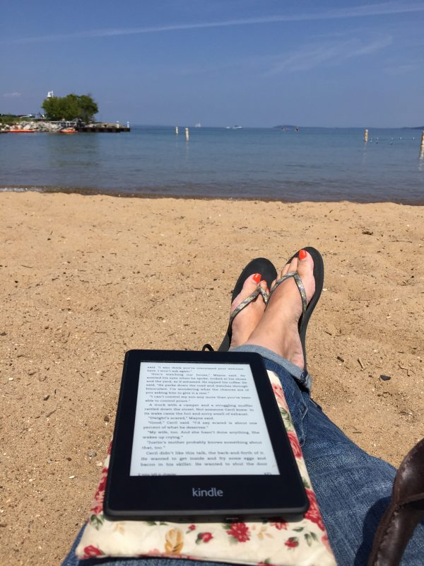 Reading my Kindle Paperwhite in Traverse City Michigan