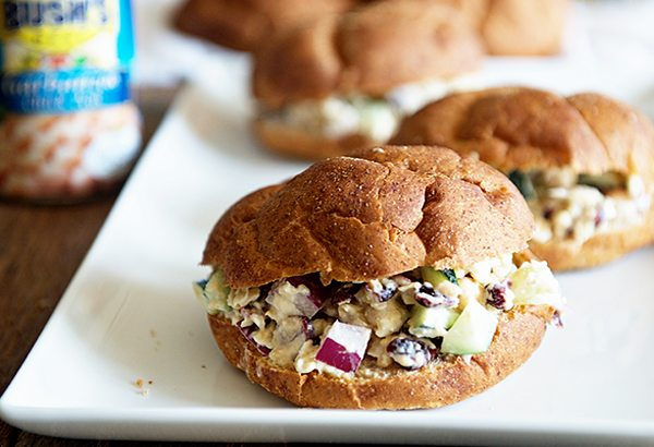 Chickpea Salad Sandwiches using Bush's Garbanzo Beans from dineanddish.net