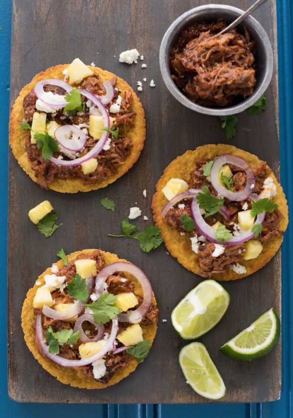 Hawaiian Pulled Pork Tostadas in the Slow Cooker