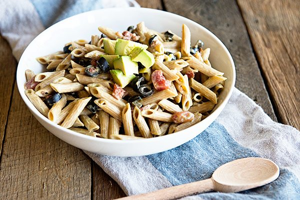 A simple side dish...Pasta with a Creamy California Avocado Sauce from dineanddish.net