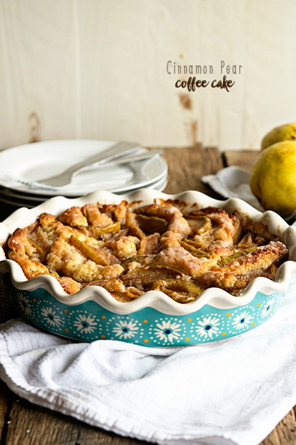 Cinnamon Pear Coffee Cake is an ideal breakfast treat! Recipe from dineanddish.net