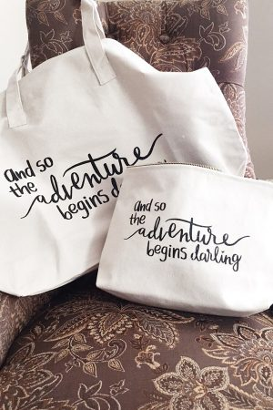 The Adventure Begins Darling pouch and tote bag