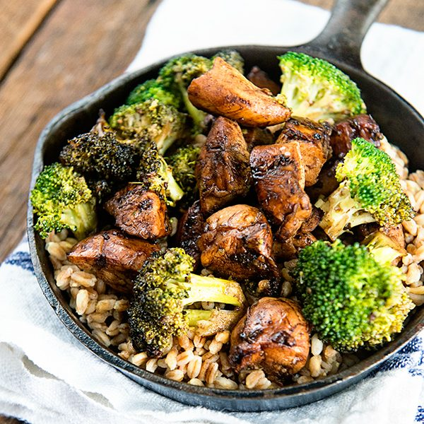 Balsamic Chicken and Broccoli over Farro Recipe is on dineanddish.net