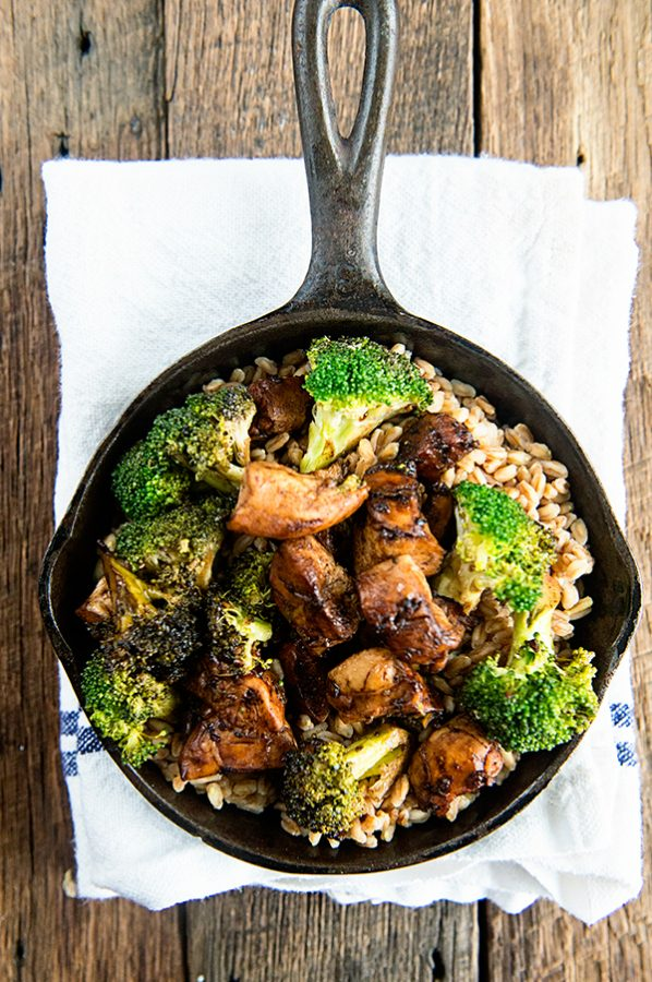 Balsamic Chicken and Broccoli over Farro recipe on dineanddish.net